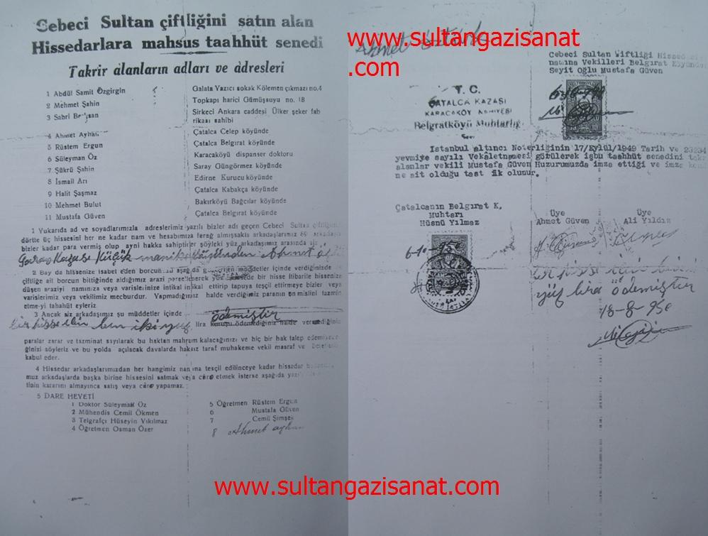 sultançifliği sultandan satın alınan ilk belge-